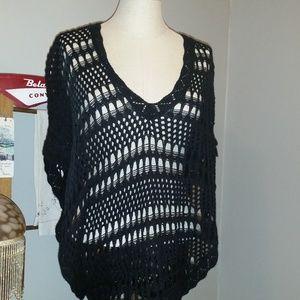 Takeout Black Knit Flutter Sleeve SweaterPoncho EC